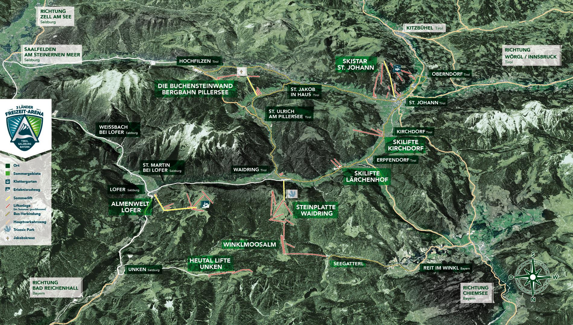 Schneewinkel Tirol - die Skigebiete - Karte